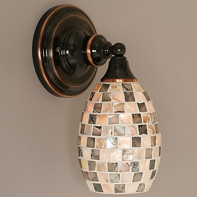 Toltec Lighting 1-Light Wall Sconce w/ Glass Shade; Black Copper