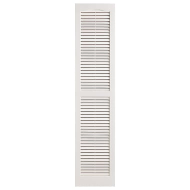 Alpha Shutters Exterior 14'' x 55'' Louvered Shutter (Set of 2); White