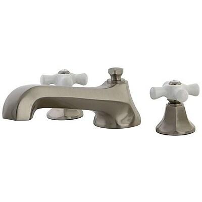 Kingston Brass Meotropolitan Double Handle Deck Mount Roman Tub Faucet; Satin Nickel