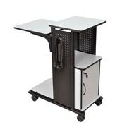 H. Wilson 4-Shelf Mobile Presentation Station AV Cart w/ Cabinet