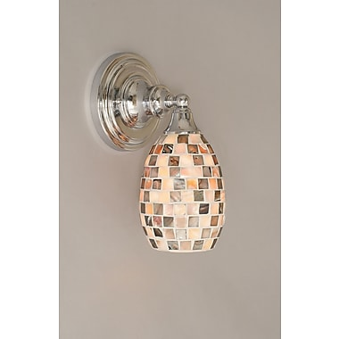 Toltec Lighting 1-Light Wall Sconce w/ Glass Shade; Chrome