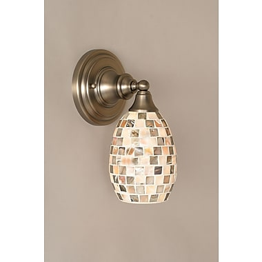 Toltec Lighting 1-Light Wall Sconce w/ Glass Shade; Brushed Nickel