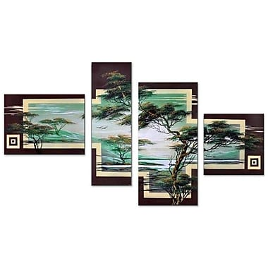 DesignArt Modern African Landscape Tree 4 Piece Painting on Canvas Set