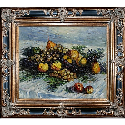 Tori Home Pears and Grapes by Claude Monet Framed Oil Painting Print on Canvas