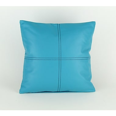 Wayborn Faux Leather Throw Pillow; Blue