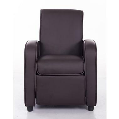 Mochi Furniture PU Leather Comfortable Kids Recliner; Brown