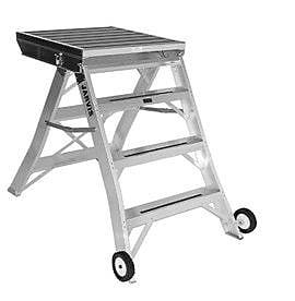 Jarvis Industries 3.5 ft Aluminum Model 7 Podium Rolling Ladder w/ 200 lb. Load Capacity; Aluminum WYF078277670168