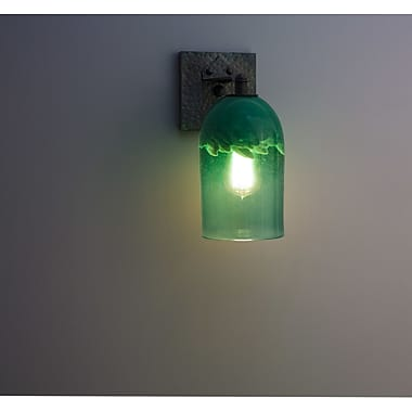 WPT Design Rose 1-Light Craftsman Wall Sconce; Clear Green