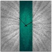 Metal Art Studio 22'' Stripe Wall Clock; Teal