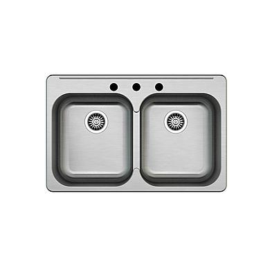 Kuisinox Sinks – Évier de cuisine double de 32 po en acier inoxydable pour installation en surface
