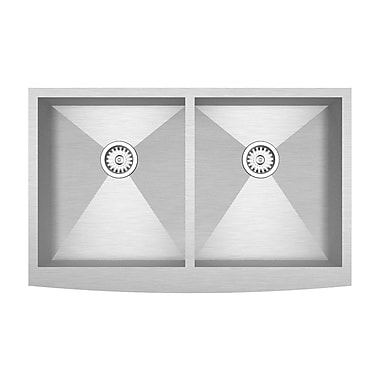 Kuisinox Sinks – Évier de cuisine double cuve Apron de 33 po fabriqué à la main en acier inoxydable
