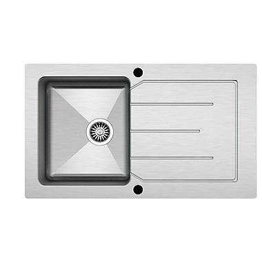 Kuisinox Sinks – Évier de cuisine simple en verre lustré et en acier inoxydable de 34 po, blanc