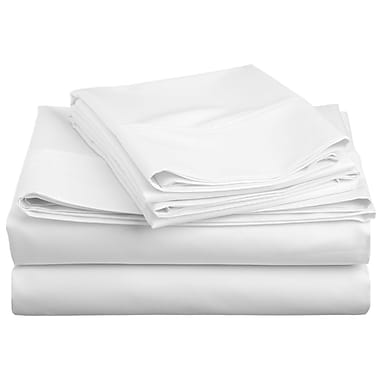 Swiss Collection - Ensemble de draps en microfibre, série 1800, couleur unie, lit 1 place, blanc