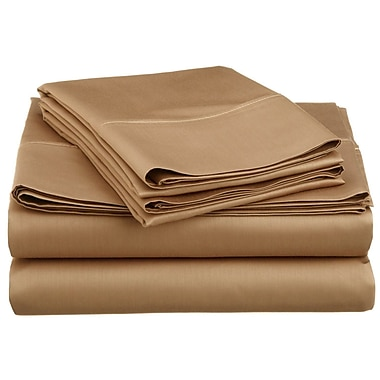 Swiss Collection - Ensemble de draps en microfibre, série 1800, couleur unie, lit 1 place, taupe