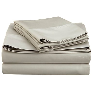 Swiss Collection - Ensemble de draps en microfibre, série 1800, couleur unie, lit deux places, gris