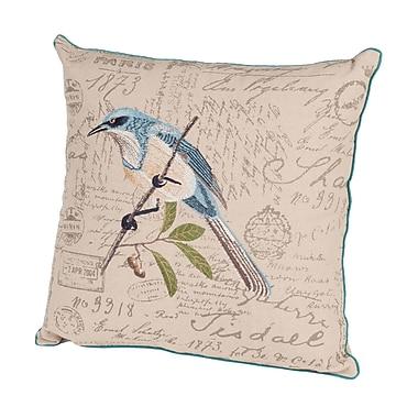Rennie & Rose Design Group Bird Watchers Embroidered Throw Pillow