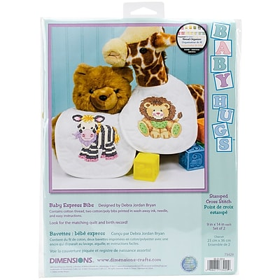 Baby Hugs Baby Express Bibs Stamped Cross Stitch Kit, 9