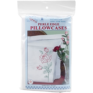 Stamped Pillowcases With White Perle Edge, Long Stem Rose