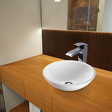 Vigo Flat Edged White Phoenix Glass Circular Vessel Bathroom Sink w/ Faucet