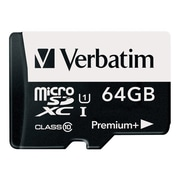 Verbatim ® 98742 PremiumPlus Class 10/UHS-I 64GB microSDXC Memory Card with Adapter