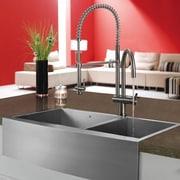 Vigo Alma 36 inch Farmhouse Apron 60/40 Double Bowl 16 Gauge Stainless Steel Kitchen Sink; No