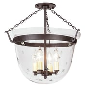 JVI Designs Large Bell 4-Light Foyer Pendant w/ Star Glass; Oil Rubbed Bronze