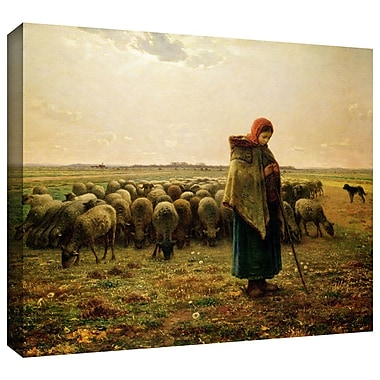 ArtWall 'Shepherdess w/ her Flock' by Jean Francois Millet Painting Print on Wrapped Canvas