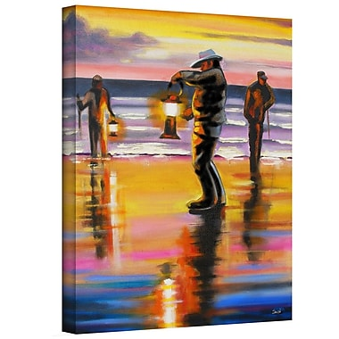 ArtWall 'Pacific Northwest Razor Clammers' by Susi Franco Painting Print on Wrapped Canvas