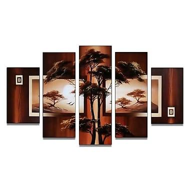 DesignArt Modern African Nature Tree 5 Piece Painting on Canvas Set