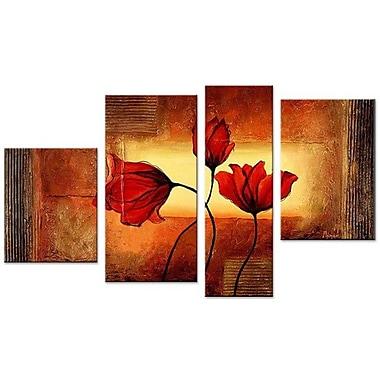 DesignArt Floral Textured 4 Piece Painting on Canvas Set
