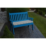 A&L Furniture Traditional English Plastic Garden Bench; Blue