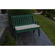 A&L Furniture Traditional English Plastic Garden Bench; Turf Green