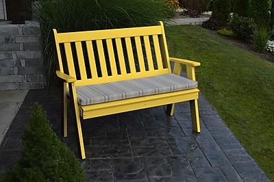 A&L Furniture Traditional English Plastic Garden Bench; Lemon Yellow