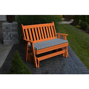 A&L Furniture Traditional English Gliding Bench; Tangerine