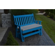 A&L Furniture Traditional English Gliding Bench; Blue