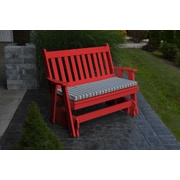 A&L Furniture Traditional English Gliding Bench; Bright Red