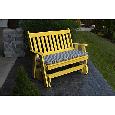 A&L Furniture Traditional English Gliding Bench; Lemon Yellow