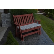 A&L Furniture Traditional English Gliding Bench; Cherry Wood