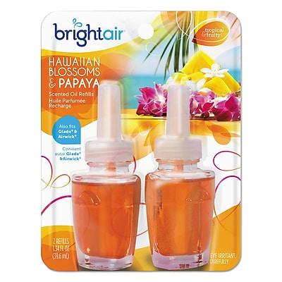 BRIGHT Air Scented Oil Refills, Hawaiian Blossoms & Papaya, 0.67 Oz Refill, 2/pack, 6/ctn