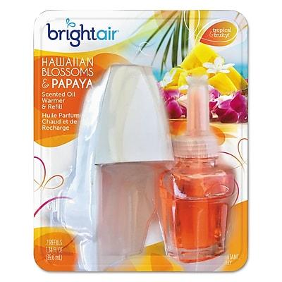 BRIGHT Air Scented Oil Warmer/refill Combo, Hawaiian Blossoms/papaya,0.67oz Refill,8/crton