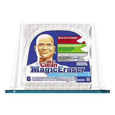 "Mr. Clean Magic Eraser Foam Pad, 2 2/5"" x 4 3/5"", Variety Pk, White/blue, 6/pk, 3 Pks/ctn"