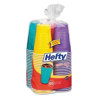Hefty Easy Grip Disposable Plastic Party Cups, 16 oz, Yellow; Purple; Red; Teal, Plastic, 100/Pack (C21637) RFPC21637