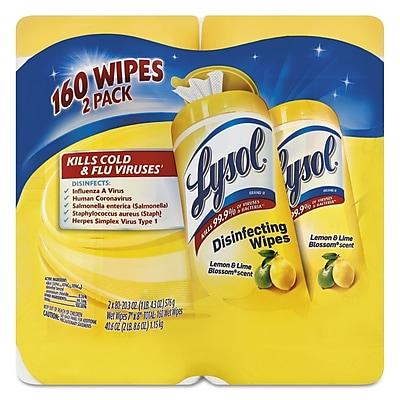 LYSOL Brand Disinfecting Wipes, Lemon/lime Blossom, 7 x 8, 80/canister, 2/pack, 3 Pk/ctn
