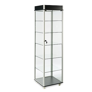 Can-Bramar VS-602 Economy Glass Tower with Valence; Tempered Glass Sides w/5 Adjustable Glass Shelves, Aluminum Profiles