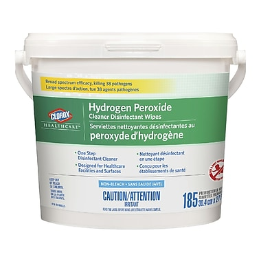Clorox Healthcare® Hydrogen Peroxide Cleaner Disinfectant Wipes Bucket, 2/Pack (CL01458)