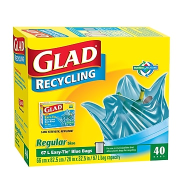 Glad® Blue Recycling Bags, Regular, 6/Packs of 40 (CL11573)