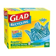 Glad Blue Recycling Bags, Regular, 6/Packs of 40 (CL11573)