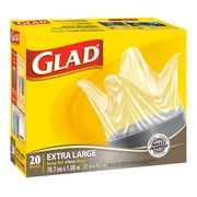 Glad Clear Garbage Bags, Extra Large, 6/Packs of 20 (CL30202)