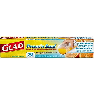 Glad – Sacs à ordures Press'n Seal, 12 paquets x 70 pi2, 12 paquets/boîte