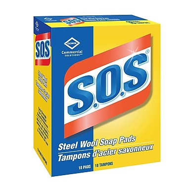 Clorox Commercial Solutions® S.O.S® Steel Wool Soap Pads, 12/Packs of 18 (CL98026)